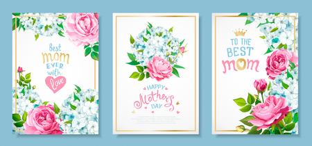 Schönen Muttertag. Set aus drei Luxusvorlagen mit blühenden Blumen aus hellblauen Phloxen, rosa Rosen, Knospen, grünen Blättern, handgezeichneter Schrift für BEST MOM in goldenem Rahmen. Frühlingshintergründe