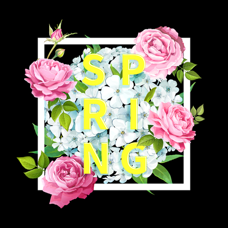 Bright-yellow inscription Spring in a square frame with blooming flowers of light-blue phloxes, lovely pink roses, buds, green leaves on a black background. Luxury floral background Stock fotó - 125858751