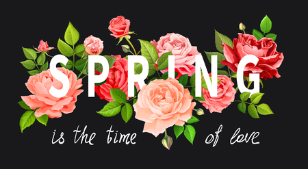 Slogan Spring is the time of love. Beautiful flowers of blooming roses red, pink and living coral colors, leaves and buds on a black background. Floral design elements. Vector illustration