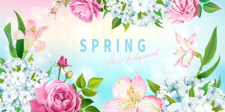 Beautiful floral background with blooming flowers of lovely pink roses, Alstroemeria, light-blue phloxes, buds, green leaves. Inscription Spring on pastel blue background Illusztráció