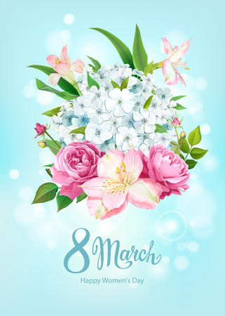 Happy International Womens Day 8 March. Beautiful floral spring background with blooming flowers of pink Roses, Alstroemeria, light-blue Phloxes, buds, green leaves on pastel sky-blue background Stock fotó - 125577504