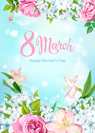 Happy International Womens Day 8 March. Beautiful floral spring background with blooming flowers of pink Roses, Alstroemeria, light-blue Phloxes, buds, green leaves on pastel sky-blue background Stock fotó - 125577505