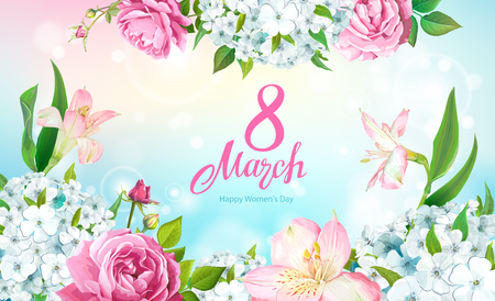 Happy International Womens Day 8 March. Beautiful floral spring background with blooming flowers of pink Roses, Alstroemeria, light-blue Phloxes, buds, green leaves on pastel sky-blue background Illustration