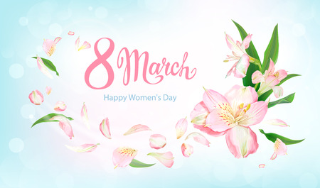 Happy International Womens Day 8 March. Beautiful floral background with blooming flowers of light pink Alstroemeria on pastel sky-blue background. Warm breeze carries tender petals and green leaves
