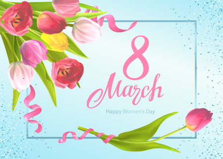 Happy International Womens Day 8 March. Greeting card Template with bouquet of tulips flowers and hand-drawn lettering, shiny sequins on a light-blue background
