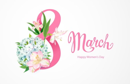 Happy International Womens Day 8 March. Greeting card template with beautiful floral spring flowers of pink Alstroemeria and light-blue Phloxes, green leaves around big number 8