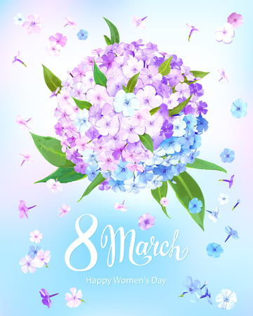 Happy International Womens Day 8 March. Beautiful floral background with blooming flowers of pink, lilac and light blue phloxes and green leaves on pastel sky-blue background. Vector illustration