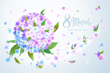 Happy International Womens Day 8 March. Beautiful floral background with blooming flowers of pink, lilac and light blue phloxes and green leaves on pastel background. Vector illustration Standard-Bild - 125535841