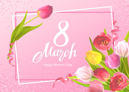 Happy International Womens Day 8 March. Greeting card Template with bouquet of tulips flowers and hand-drawn lettering, shiny sequins on a pink background Illusztráció