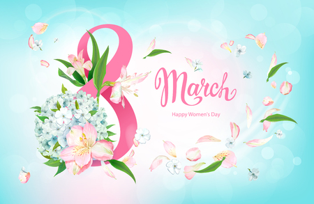 Happy International Womens Day 8 March. Greeting card with beautiful spring flowers of pink Alstroemeria and light-blue Phloxes, green leaves around big number 8 on pastel sky-blue background