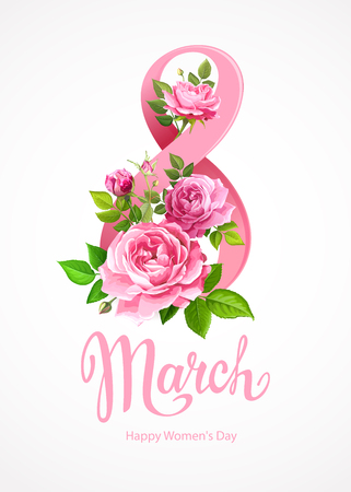 Happy International Womens Day 8 March. Greeting card template with beautiful blooming pink roses, green leaves and buds around big number 8 on a light-grey background
