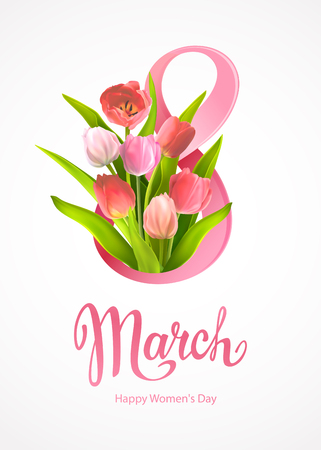 Happy International Womens Day 8 March. Greeting card template with realistic beautiful blooming tulips red and pink colors, green leaves around big number 8 on a light-grey background Stock fotó - 125482056