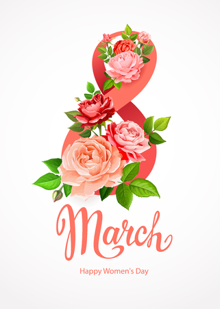 Happy International Womens Day 8 March. Greeting card template with beautiful blooming roses red, pink and living coral colors, green leaves and buds around big number 8 on a light-grey background Illusztráció