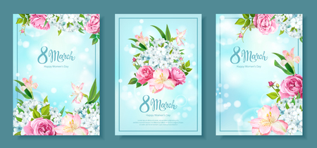 Happy International Womens Day 8 March. Set of three floral backgrounds with blooming flowers of pink Roses, Alstroemeria, light-blue Phloxes, buds, green leaves on pastel sky-blue background