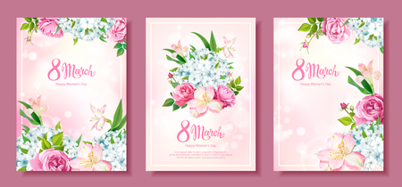 Happy International Womens Day 8 March. Set of three floral backgrounds with blooming flowers of Roses, Alstroemeria, light-blue Phloxes, buds, green leaves on pastel pink background Ilustracja