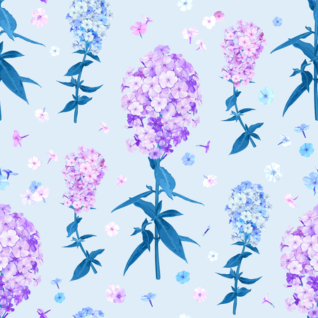 Beautiful floral background with blooming flowers of pink, lilac and light blue phloxes on pastel sky blue background. Vector  seamless pattern