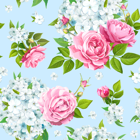 Wonderful floral background with blooming flowers of pink roses and light blue phloxes on pastel blue background. Vector seamless pattern
