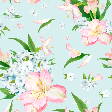 Wonderful floral background with blooming flowers of pink Alstroemeria and light blue phloxes on pastel background. Warm breeze carries tender petals and green leaves. Vector seamless pattern. Ilustracja