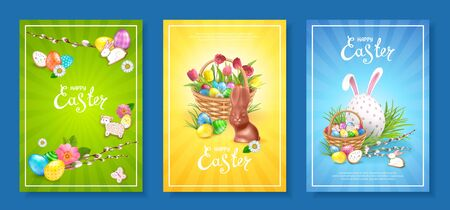 Happy Easter. Set of three backgrounds template with bright colorful decorated eggs, Chocolate Bunny, basket filled with eggs and cookies. Willow twigs, green grass and bunch of spring tulips Foto de archivo - 128058350