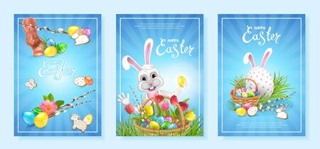 Happy Easter. Set of three backgrounds template with bright colorful decorated eggs, Chocolate Bunny, basket filled with eggs and cookies. Willow twigs, green grass and bunch of spring tulips