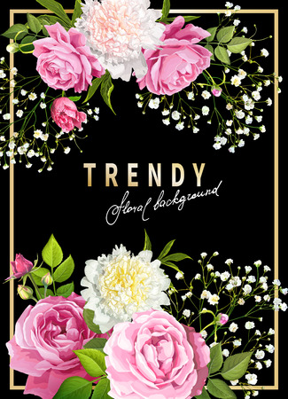 Trendy floral background with blooming flowers of pink and light yellow peonies, lovely roses, tender white Gypsophila, green leaves on a black background. Golden frame and Inscription in the center