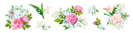 Set of vector floral bouquets. Blooming flowers of pink Roses, Alstroemeria, light-blue Phloxes, tender Gypsophila, buds, greenery isolated on a white background. Designer elements Wedding invite card