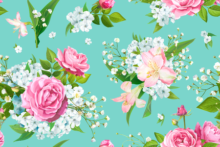 Wonderful floral seamless pattern with flowers of pink Roses, Alstroemeria, light-blue Phloxes, tender Gypsophila, buds and greenery on pastel blue-green background. Vector illustration