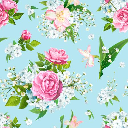 ピンクのバラ、アルストロメリア、水色のフロクス、柔らかいジプソフィラ、パテルブルーの背景に芽と緑の花と素晴らしい花のシームレスなパターン。ベクトルの図 ベクターイラストレーション