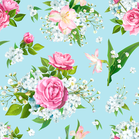 Wonderful floral seamless pattern with flowers of pink Roses, Alstroemeria, light-blue Phloxes, tender Gypsophila, buds and greenery on pastel blue background. Vector illustration