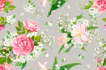 Trendy floral seamless pattern with flowers of pink Roses, Alstroemeria, Phloxes, tender white Gypsophila, buds and greenery on pastel light beige background. Vector illustration