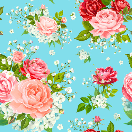 Wonderful floral seamless pattern with flowers of red, pink and gentle peach blooming roses, Alstroemeria, Phloxes, tender white Gypsophila, buds and greenery on pastel blue background