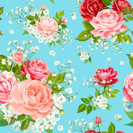 Wunderbares nahtloses Blumenmuster mit Blumen aus roten, rosa und sanft pfirsichblühenden Rosen, Alstroemeria, Phloxes, zartem weißem Gypsophila, Knospen und Grün auf pastellblauem Hintergrund