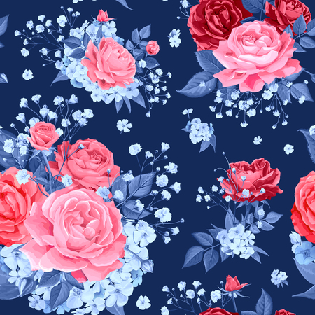 Trendy seamless pattern with flowers of pink blooming roses, Phloxes and tender Gypsophila in blue colors on dark background. Lovely floral design element of textile. Vector illustration Ilustracja