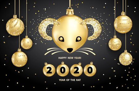 Rat is a symbol of the 2020 Chinese New Year. Realistic golden glass balls with muzzle of rat, brighting sequins on a black background. Decorative Christmas design elements. Vector illustration