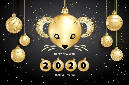 Szczur jest symbolem chińskiego Nowego Roku 2020. Realistyczne złote bombki z pyskiem szczura, rozświetlające cekiny na czarnym tle. Ozdobne elementy projektu Boże Narodzenie. Ilustracja wektorowa