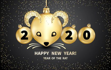 Rat is a symbol of the 2020 Chinese New Year. Realistic golden glass balls with muzzle of rat, brighting sequins on a black background. Decorative Christmas design elements. Vector illustration Stock fotó - 128058370