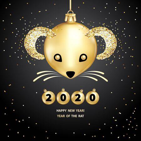 Ratte ist ein Symbol für das chinesische Neujahr 2020. Realistische goldene Glaskugeln mit Rattenmaul, leuchtende Pailletten auf schwarzem Hintergrund. Dekorative Weihnachtsgestaltungselemente. Vektor-Illustration Vektorgrafik