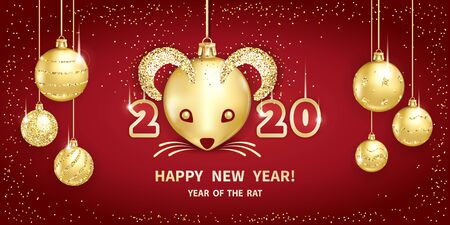 Rat is a symbol of the 2020 Chinese New Year. Realistic golden glass balls with muzzle of rat, brighting sequins on a red background. Decorative Christmas design elements. Vector illustration