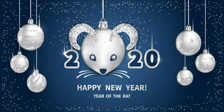 White Metallic Rat is a symbol of the 2020 Chinese New Year. Realistic silver glass balls with muzzle of rat, brighting sequins on a dark-blue background. Decorative Christmas design elements