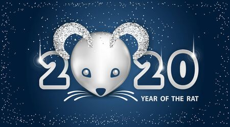 White Metallic Rat is a symbol of the 2020 Chinese New Year. Holiday vector illustration of metallic muzzle of cute rat, numbers, brighting sequins on a dark background. Festive banner design Illusztráció