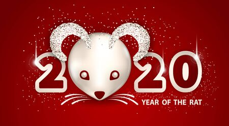 White Metallic Rat is a symbol of the 2020 Chinese New Year. Holiday vector illustration of metallic muzzle of cute rat, numbers, brighting sequins on a red background. Festive banner design Foto de archivo - 128058377