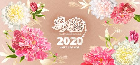 White Metal Rat is a symbol of the 2020 Chinese New Year. Greeting card in Oriental style with peonies flowers, leaves, buds, decorative elements around zodiac Sign of mouse on light beige background