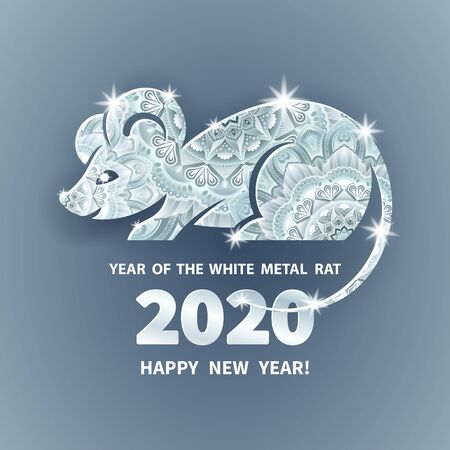 White Metal Rat is a symbol of the 2020 Chinese New Year. Holiday illustration of decorated silhouette Zodiac Sign of rat on a grey background. Vector element for banner, poster, flyer, greeting card Vectores