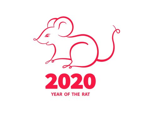 Rat is a symbol of the 2020 Chinese New Year. Holiday illustration of silhouette Zodiac Sign of red rat isolated on a white background. Vector element for banner, poster, flyer Ilustrace