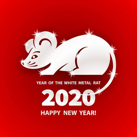 White Metal Rat is a symbol of the 2020 Chinese New Year. Holiday vector illustration of Zodiac Sign of metallic rat on a red background. Design element for banner, poster, flyer, greeting card Foto de archivo - 128058386