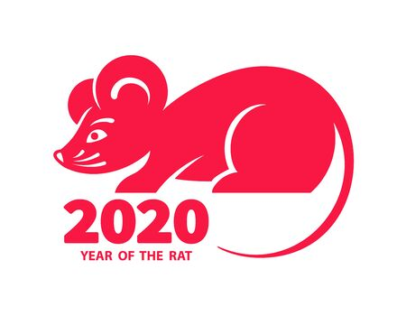 Rat is a symbol of the 2020 Chinese New Year. Holiday illustration of silhouette Zodiac Sign of red rat isolated on a white background. Vector element for banner, poster, flyer Illusztráció