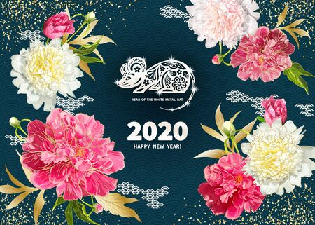 White Metal Rat is a symbol of the 2020 Chinese New Year. Greeting card in Oriental style with peonies flowers, leaves, buds, decorative elements around zodiac Sign of mouse on a dark background