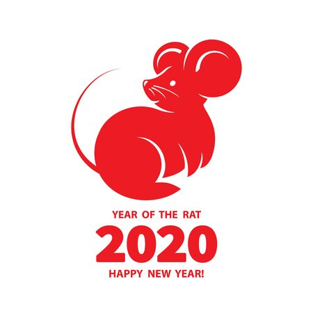 Rat is a symbol of the 2020 Chinese New Year. Holiday illustration of silhouette Zodiac Sign of red rat isolated on a white background. Vector element for banner, poster, flyer Ilustração