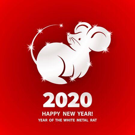 White Metal Rat è un simbolo del capodanno cinese 2020. Illustrazione vettoriale di vacanza del segno zodiacale di ratto metallico su sfondo rosso. Elemento di design per banner, poster, volantini, biglietti di auguri