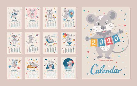 Monatlicher Kalender. Ratte ist ein Symbol für das chinesische Neujahr 2020. Niedliche Cartoon-Sternzeichen-Ratte in verschiedenen Situationen. Woche beginnt am Sonntag. Vektor-Illustration Vektorgrafik